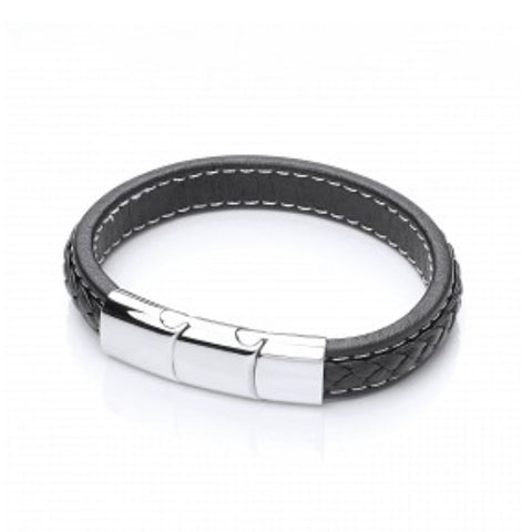 Men's Leather Bracelet with Steel Clasp