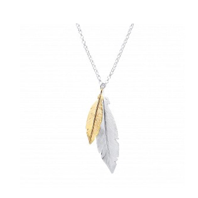 Silver&gold plated double leaf pendant necklace GVK195