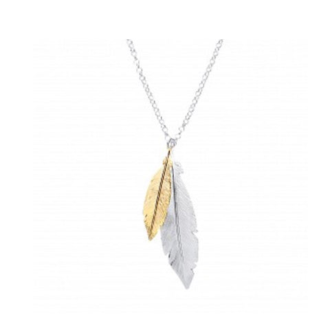 Silver&gold plated double leaf pendant necklace