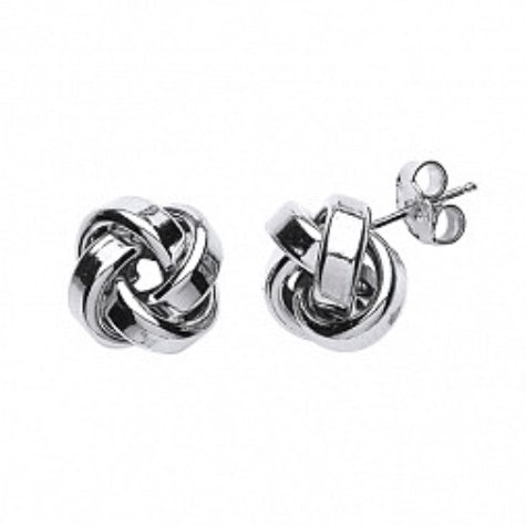 Sterling Silver Rhodium Plated Knot Earrings