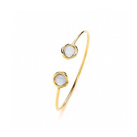 Gema Gold Plated Fancy Stone Torque Bangle