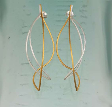 kinetic earrings silver and gold ribbons  E173SG