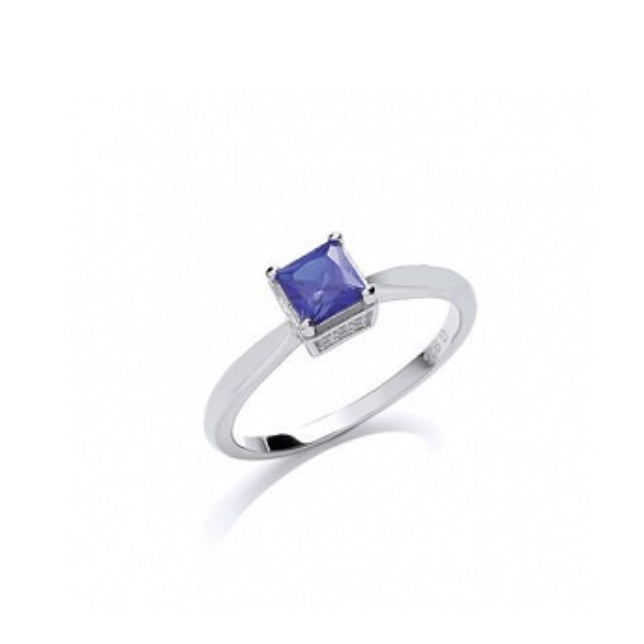 Gema Silver CZ Fancy Solitaire Ring