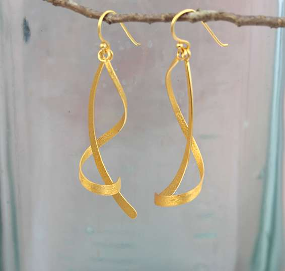 Twist and Turn Gold Plated Silver Earrings