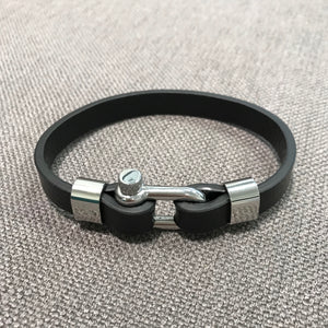 Men's Leather & Stainless Steel U Shackle Bracelet