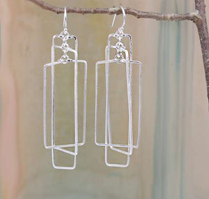 Rectangular Mobile Earrings Silver