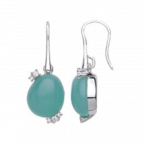Sterling Silver CZ & Emerald Crystal Drop Earrings
