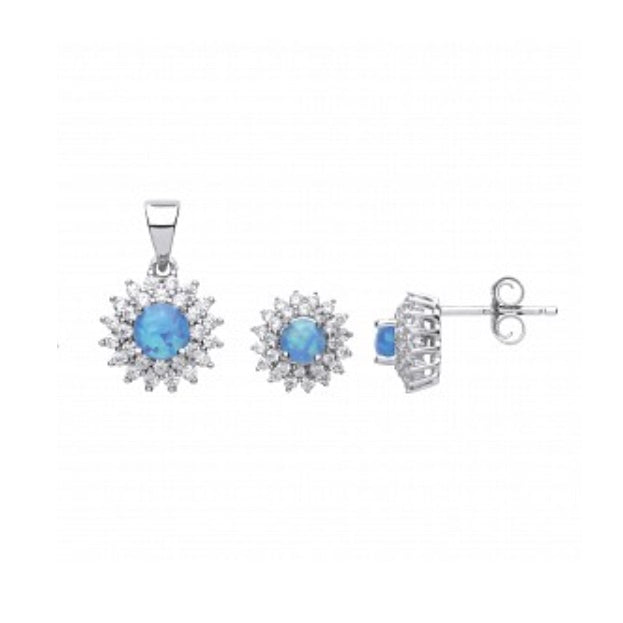 Sterling Silver CZ & Opal Cluster Earrings & Pendant Set