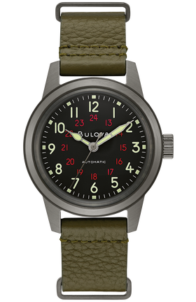Bulova 98A255 Men's Hack Automatic Green Leather Nato Watch