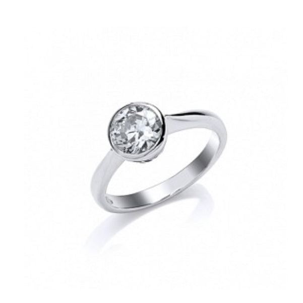 Gema Silver CZ Round Solitaire Ring
