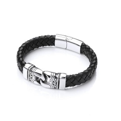 Men's Leather Bracelet with Fancy Steel Clasp