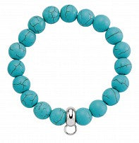 BRC17 10mm Turquoise Bead Bracelet With Plain Silver Polo Charm