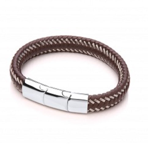 Men's Brown Leather Plait Bracelet