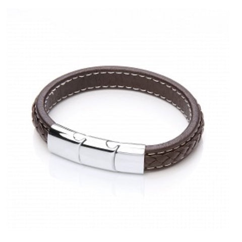 Men's Leather Plait Bracelet with Steel Clasp