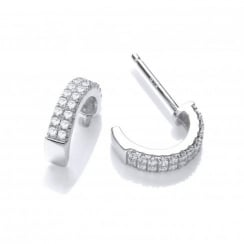 Silver Half Hoop Swarovski Earrings