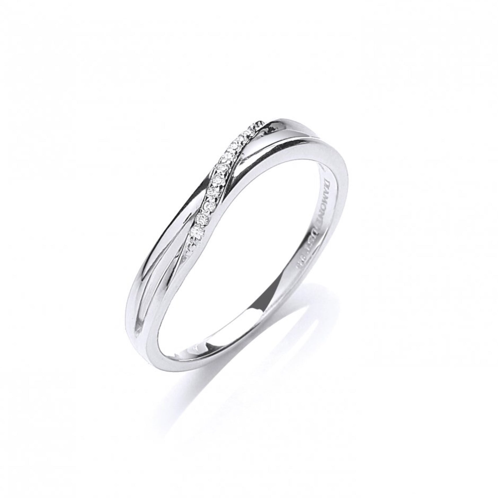 David Deyong CZ Twisted Sterling Silver Pave Set Ring