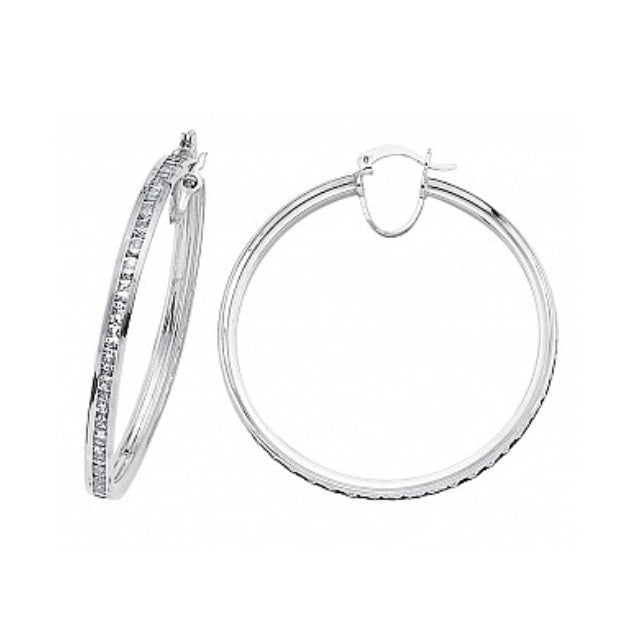 Gema Silver CZ Channel Set Hoops