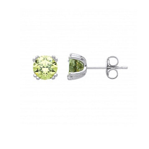 Gema Silver Peridot CZ Stud Earrings