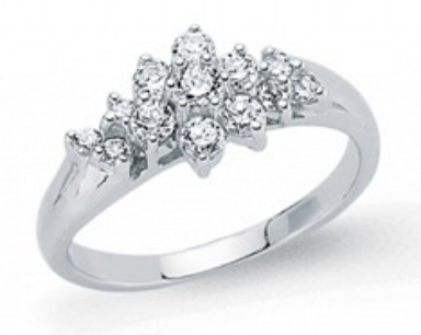 Silver & CZ Cluster Ring GVR485