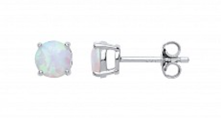 Silver Opal Stud Earrings 6mm