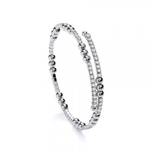 Sterling Silver Triple Bead Tennis Bracelet