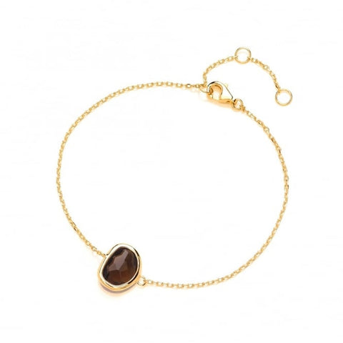 Sterling Silver Gold Plated Fine Bracelet with Brown Faceted Crystal
