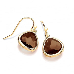 Sterling Silver gold Plated Drop Earrings with Brown Crystal