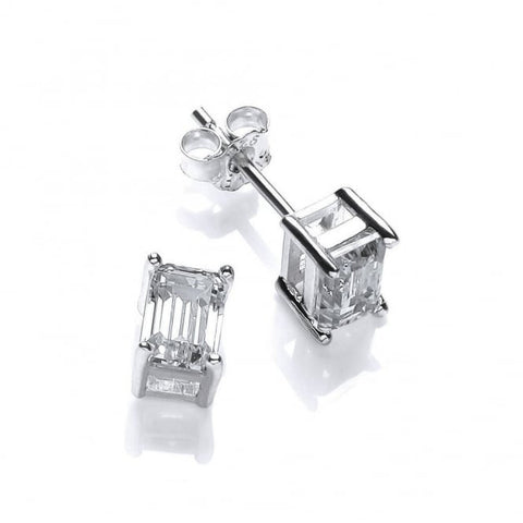 DiamonDust Sterling Silver and Swarovski Zirconia Baguette studs