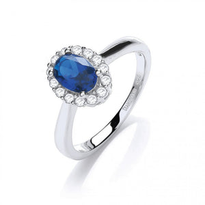 Sterling Silver Blue Oval Swarovski Ring