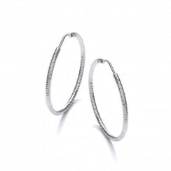 HOOP2D Diamond Cut Sterling Silver Hoops