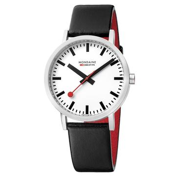 Mondaine Classic, 36 mm, black leather watch, A660.30314.11SBB