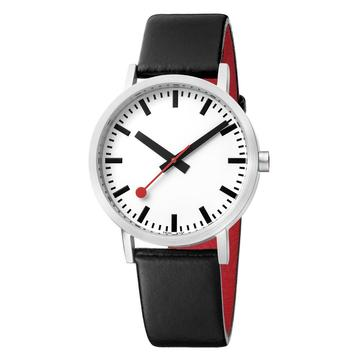 Mondaine Classic, 40 mm, black leather watch, A660.30360.16OM