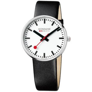 Mondaine Giant, 42 mm, black leather watch, MSX.4211B.LB