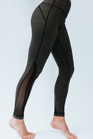 Heather Grey Mesh Full Length Leggings