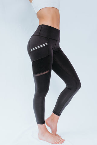 7/8 Black Mesh Active Legging