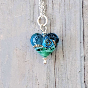 Babe Heart Necklace - Deep Blue