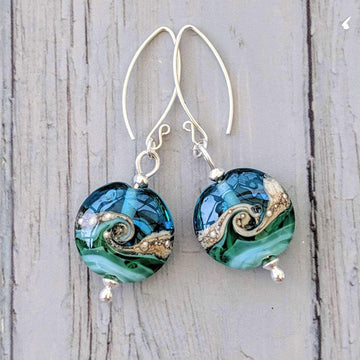 Lentil Drop Earrings - Deep Blue