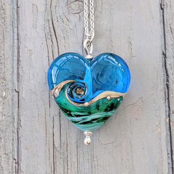 Heart Necklace - Deep Blue