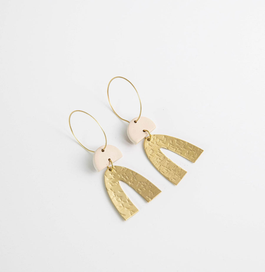 Grace Brass Arc hoop earrings in Oat