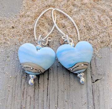 Seabreeze Heart Earrings - Beach Art Glass
