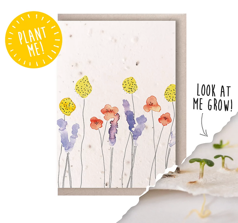 Watercolour Flowers Portrait (Seeded Card)