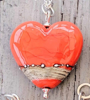 Opaque Heart Necklace in a Range of Colours - Beach Art Glass