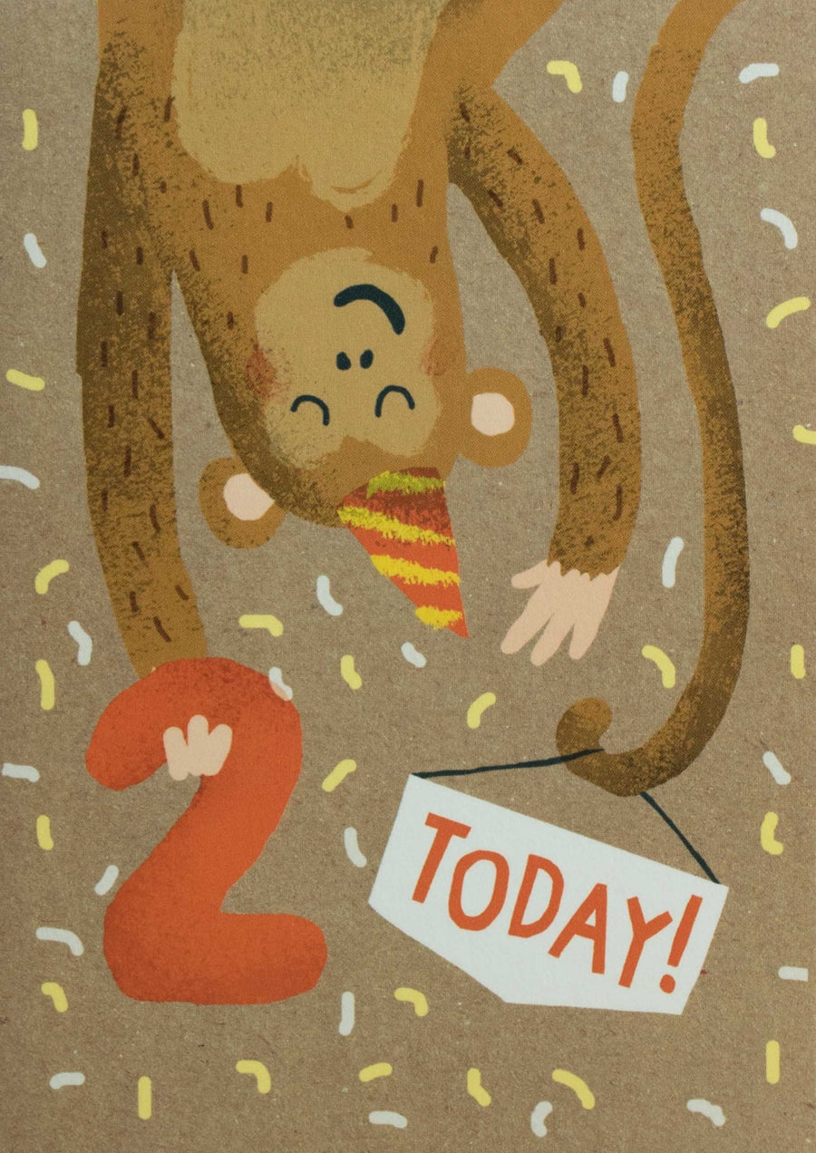 2nd Birthday Monkey Card