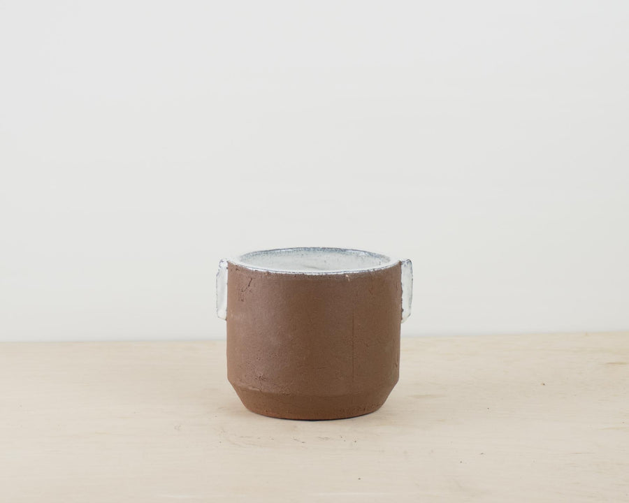 Brown Pot with White Inner Glaze