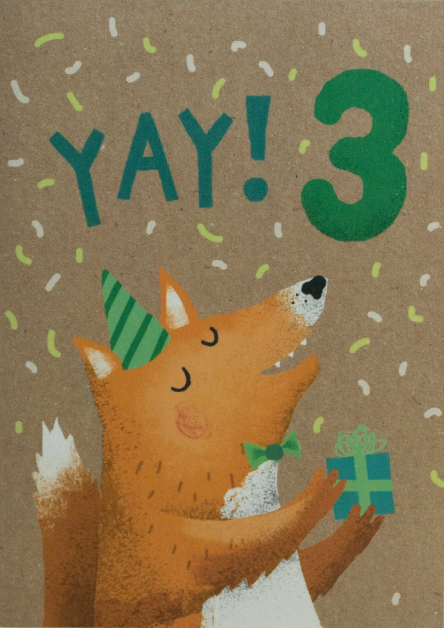 3rd Birthday Fox Card