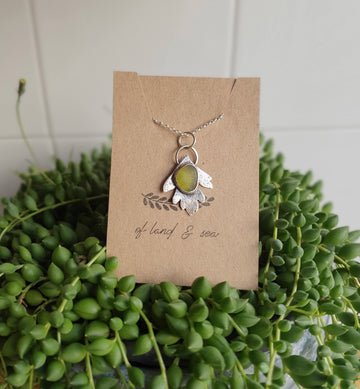 Seaglass Leaf Necklace - Of Land and Sea