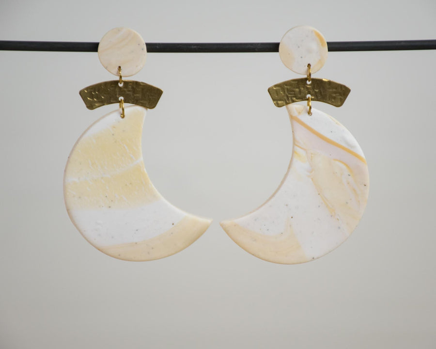Crescent Moon Statement Earrings - White and Warm Oat Marble
