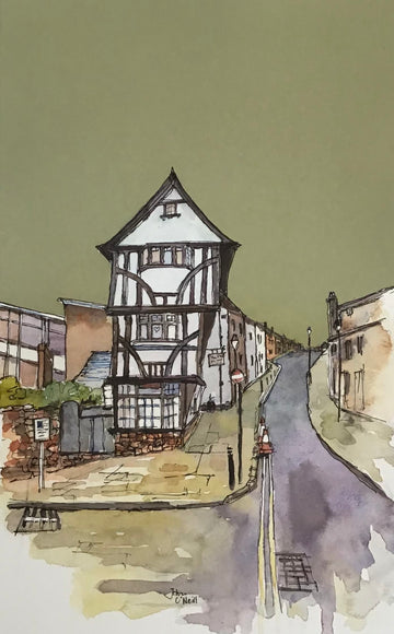 Original Painting of The House That Moved in Exeter - John O'Neill