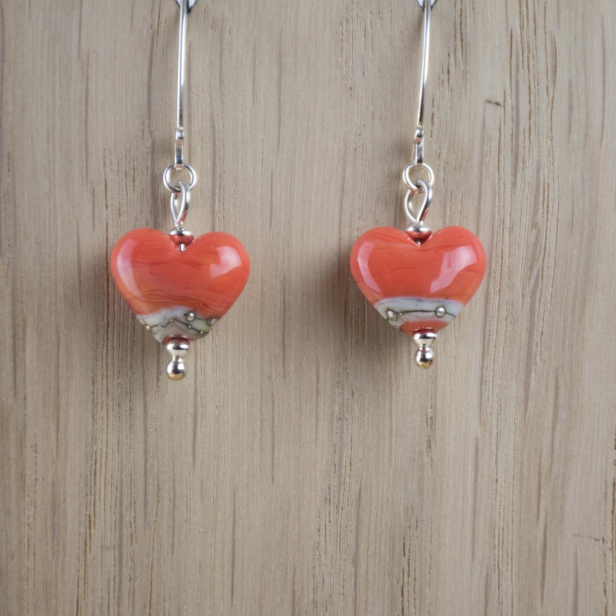 Opaque Heart Earrings in a Range of Colours - Beach Art Glass