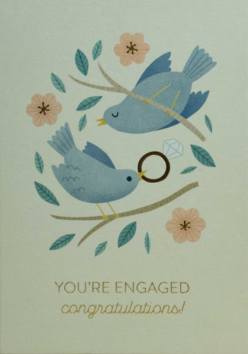 Engaged Birds Greetings Card